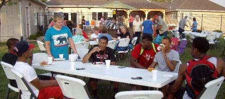 Allen Community College students join others in a Sunday evening dinner at Iola First Baptist Church.