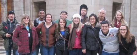 Those from Allen traveling to Nebraska for an acting competition last week were, front row from left, Sarah Price, Amanda McDermott, Jeri Troyer, Alexis Dean, Elvira Avdeyeva, Michael De Los Santos, and Liesl Wilhoft; back row from left, Cliff Harris, Jordan Fountain, Matthew Wynn, Gage Dickerson, Tony Piazza, and Kailey Boyd.