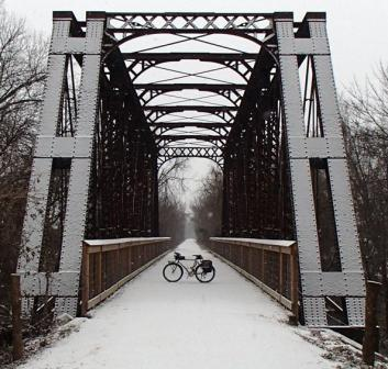 A winter scene on The Southwind Trail as it crosses the Neosho River south of Iola.