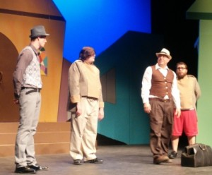 "Cody Sluder, from left, Dustin McCullough, Tony Piazza, and Codey Long rehearse a scene from ""The Comedy of Errors,"" which will be staged this weekend at the Bowlus Fine Arts Center."