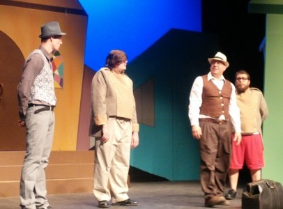 Cody Sluder, from left, Dustin McCullough, Tony Piazza, and Codey Long rehearse a scene from