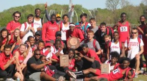The Allen County Red Devils Track Team celebrates its Conference awards.