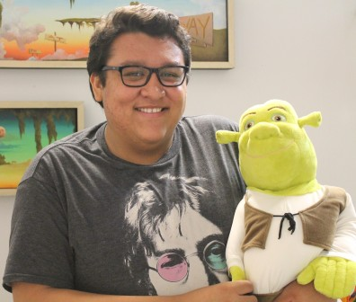 Jordan Garcia and his alter ego, Shrek.