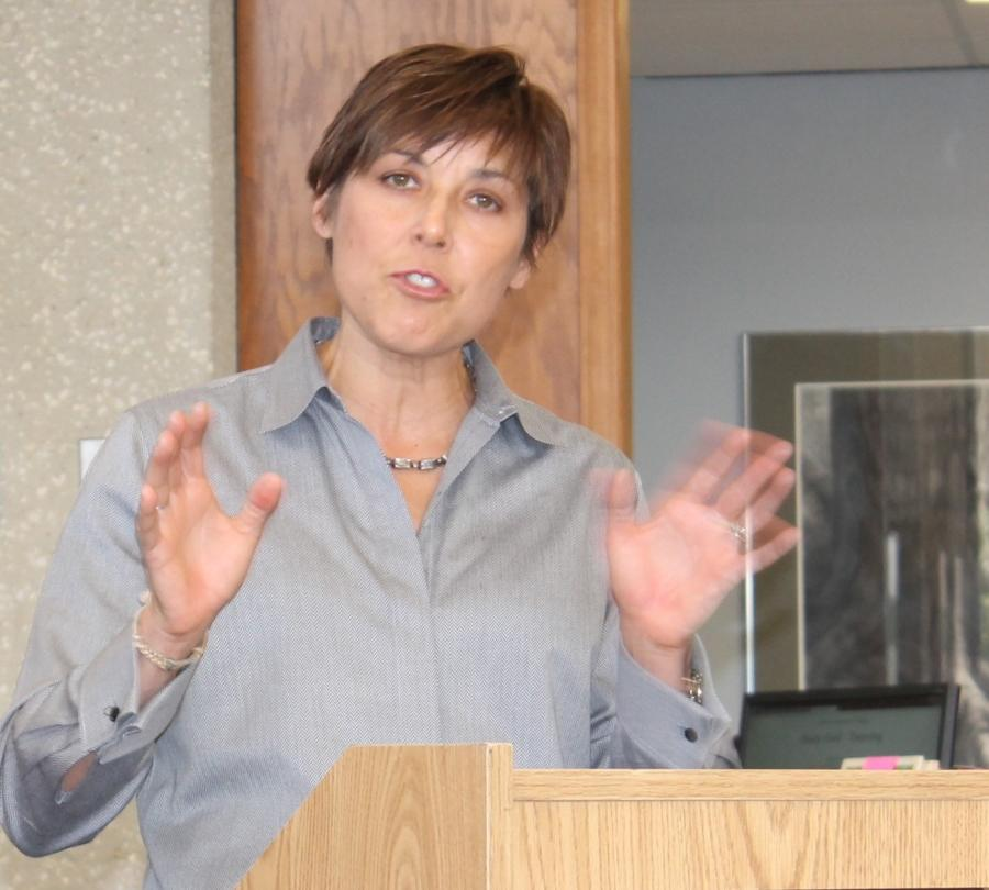 Author Sandra Moran spoke at the Allen library this fall as part of the new cultural series.