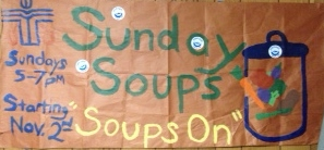 The sign at Iola's First Presbyterian Church advertises its Sunday Soups.