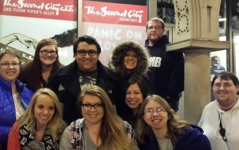 Tony Piazza of the Allen Theater Department took this photograph of the group visiting Chicago during spring break. Pictured are, front from left, Jeri Troyer, Carley Nelson, Lauren Perez-Engel, Heather Kropf, and Matthew Wynn; back row from left, Terri Piazza, Alexandria Lynn King, Jordan Garcia, Anna Mammedova, and Barry McAnulty.