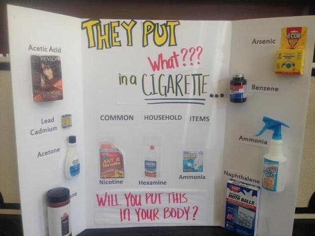 This poster made by local middle school students campaigns against tobacco and is in the Iola office of Bobbi Bonds, Community Health Educator for Thrive Allen County.