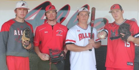 Cal Castle, from left, Chase Behler, Mason Gifford and Chase Gooding show their baseball attire from Under Armour.