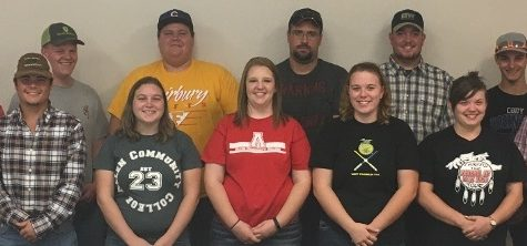 Allen's Livestock Judging Team consists of, back row from left, Reece Mader, Mason Plunk, Kyle Bauer), Brandon Curry, Brian Palmer, and Michael Mcfarland. Front from left are Quentin Haas, Jenna Thurman, Gentri Collins, Bailey Corwine, Reba McCarty, and Blayne Richardson. Not pictured is Stephanie Riegel.