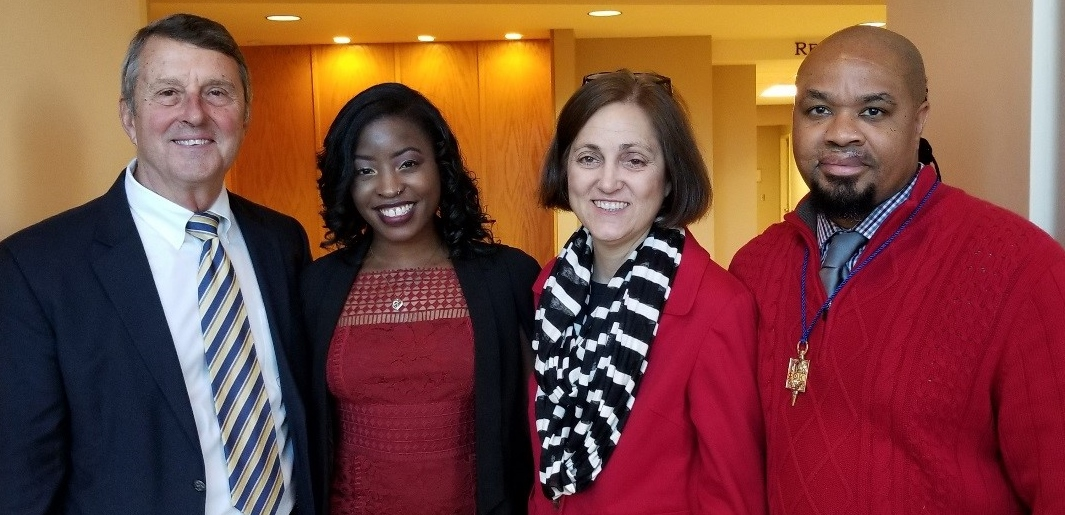 Pictured are, from left, John Masterson, Allen president, Ebony White, Named Scholarship Honoree, Sharon Lawless, Allen PTK sponsor, and Daniel Martin, Allen PTK officer.