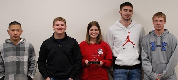 Members of the winning Math Relays team from Osage City High School were, from left, Aiden Liang, Weston Littrell, Jordan Hon, Tyson Wilkins and Rider Nettleton.