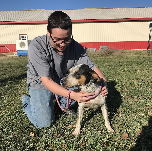 Dog technician Ben Bloer and eight-year-old Jackie, a coonhound/bluetick mix, play outside the ACARF shelter in LaHarpe.