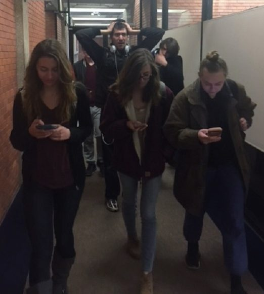 Basic courtesy and awareness can prevent congestion in school hallways. Demonstrated by Padyne Durand, Judd Wiltse, Paige Durand, Ian Malcom and Chloe Bedell.