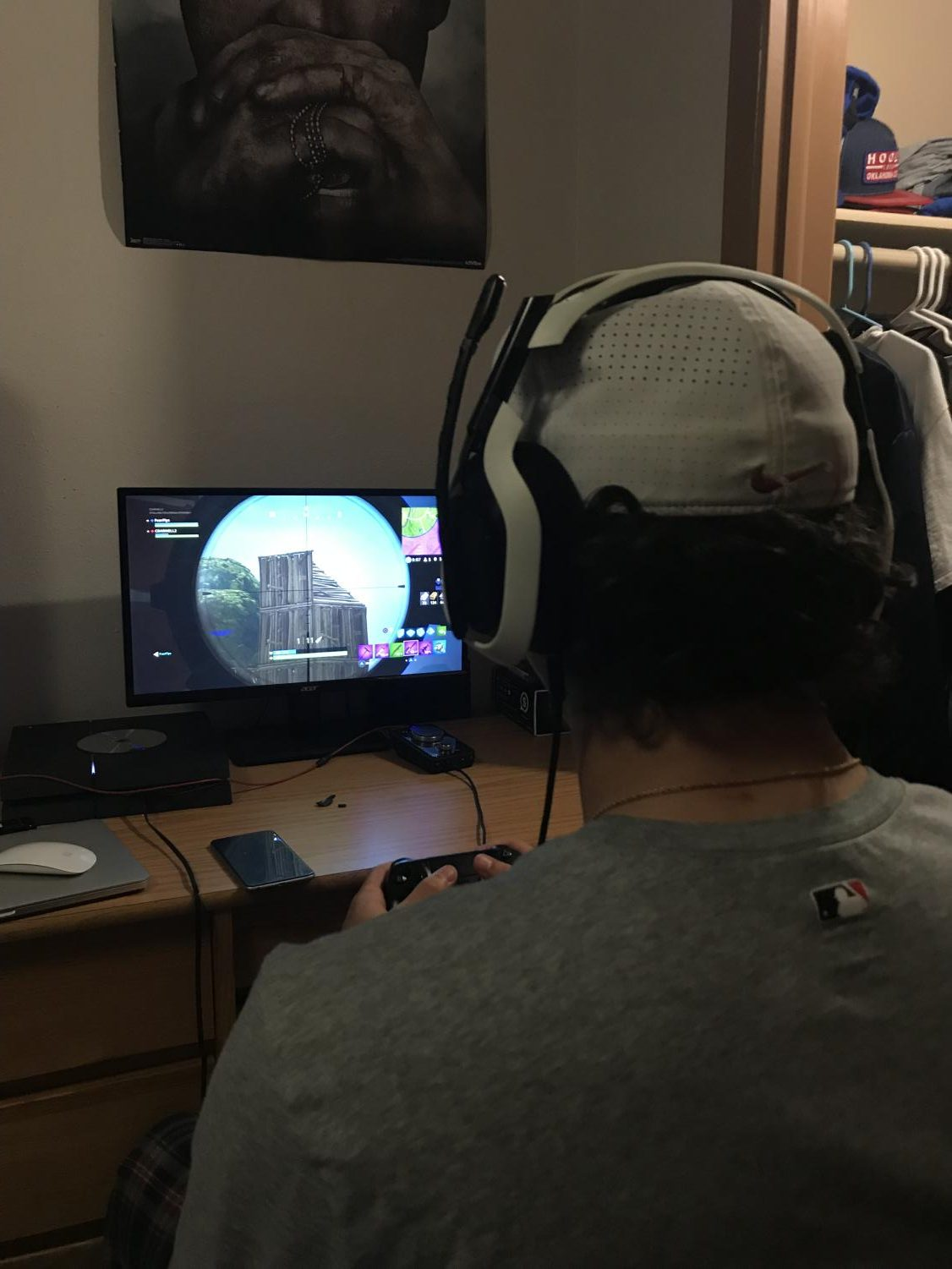 Conner Darnell plays Fortnite in his dorm room, like many other students at Allen Community College.