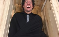 Judd Wiltse, Allen Community College Sophomore plays the leading role of Dracula in the spring production. Here he is seen laying in his coffin... BOO!