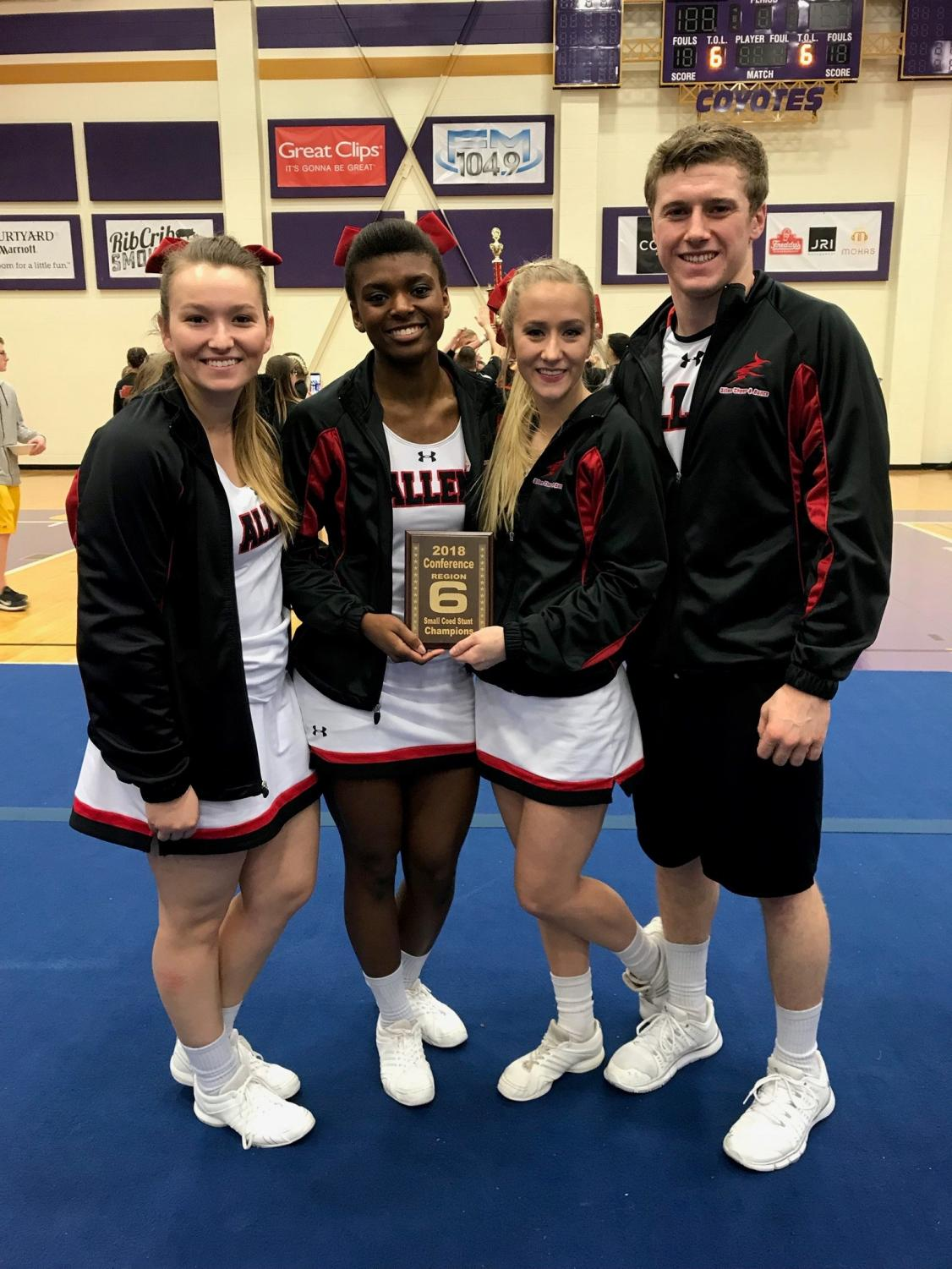Allen Cheer's Small Co-Ed Stunt Group posed for a pic after placing first at competition in March. From left to right: Jamie Souders, Cateria Ebeling, Katey Hinds, and Seth Coltrane.