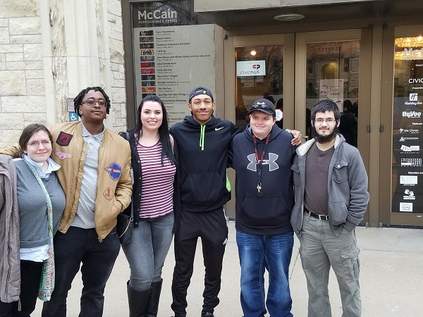 Gathering in front of McCain Auditorium at Kansas State University are, from left, Rachel Kothe, Marquese Garrett, Lindsey Temaat, RJay McCoy, Brogan Falls, and Paul Borcherding.