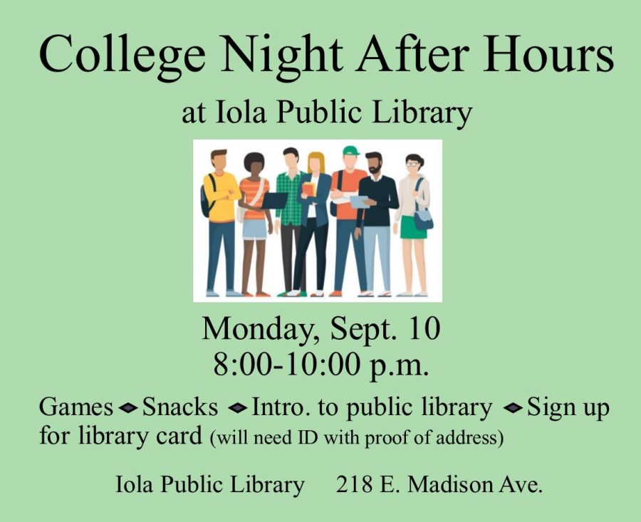 Iola Public Library to Entertain Students