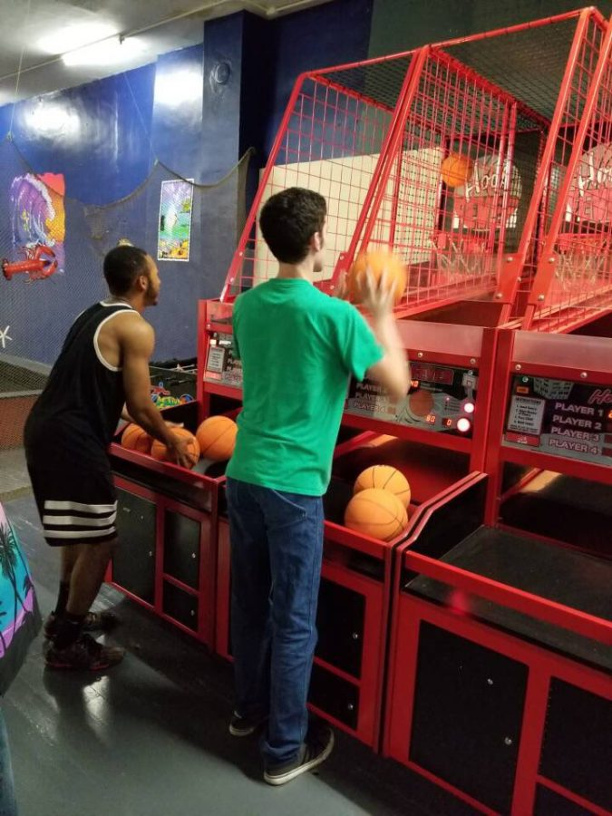 RJay McCoy and Judd Wiltse shoot some hoops at Endless Summer.