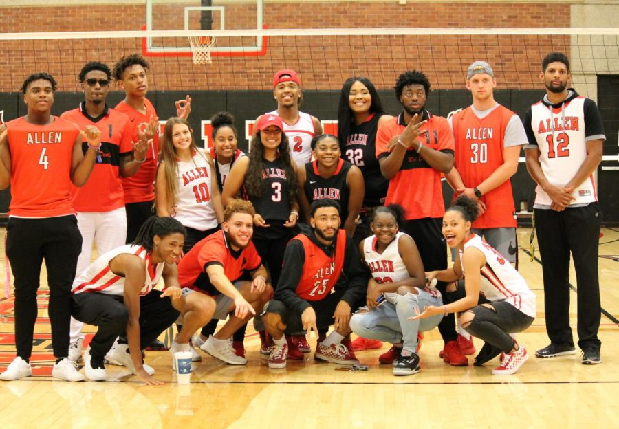 Both the Mens and Womens Basketball Team make a consistent effort to support Allen Volleyball. At the Jersey Night game on Mon., Sept. 24, the crew sported a variety of Allen Jerseys.