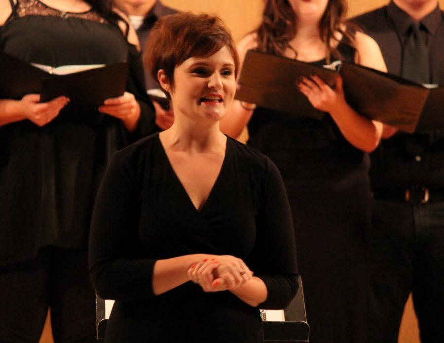 Adrienne+Fleming+is+the+new+vocal+music+instructor+at+Allen%2C+and+conducted+her+first+performance+with+the+college+earlier+this+month+at+the+Bowlus+Fine+Arts+Center.
