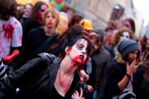 Individuals dress up as zombies every year for the Paris Zombie Walk in Paris, France.