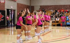 The Lady Devils volleyball team showed their support for Breast Cancer Awareness Month by sporting pink jerseys at Wednesday night's Pink Out game.