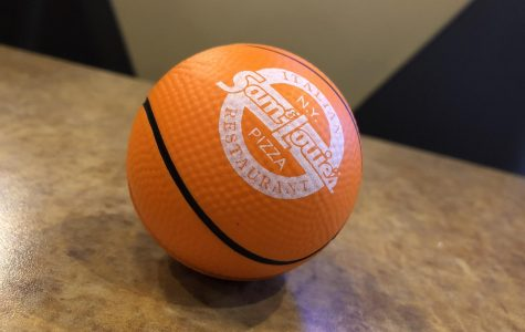 Catch one of these miniature basketballs at an Allen Community College home game, and bring it to Sam and Louie's in Iola for a free piece of pizza!