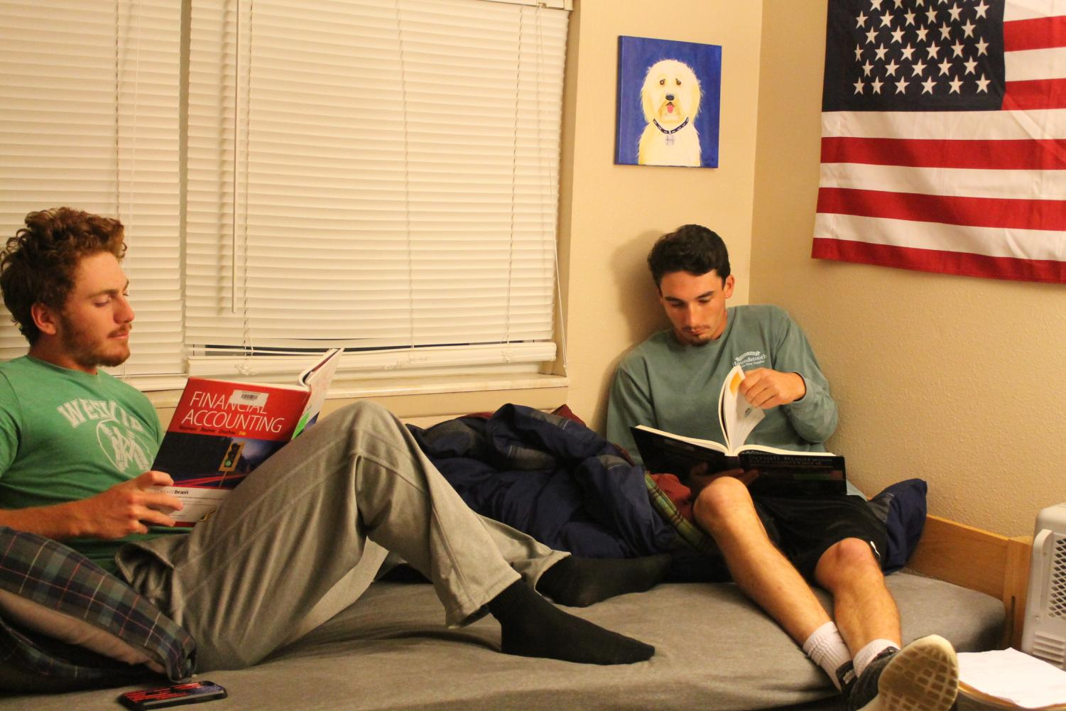 Baxter Mays and Tyler Turner enjoy studying in the comfort of the Red Devil Duplexes.