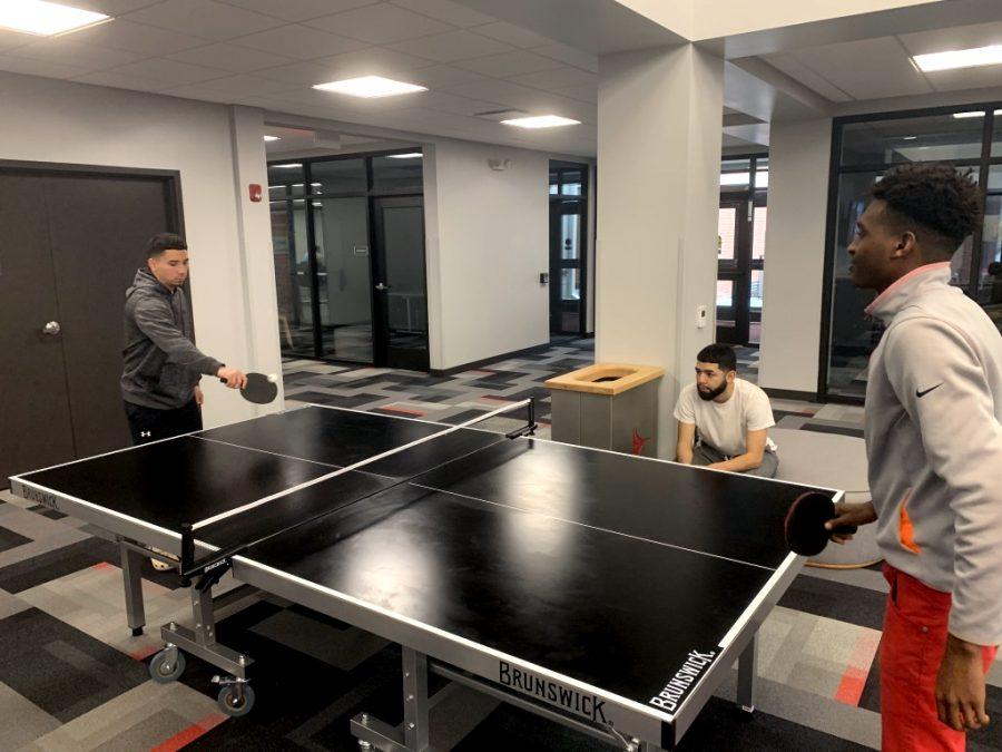 Sophomore Austin Cuevas plays sophomore Yoel Yoel in ping pong.