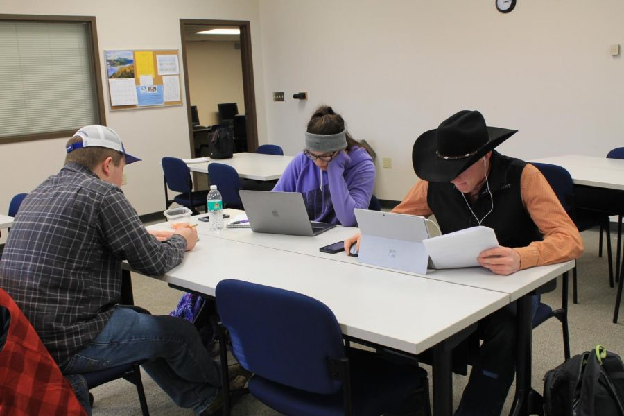 During class, Allen Community College Livestock Judging team members practice classifying livestock to prepare for competition.