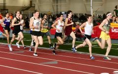 Allen sophomore Josh Doria, center, runs the 3,000-meter race at the Pittsburg State Rumble in the Jungle Meet.
