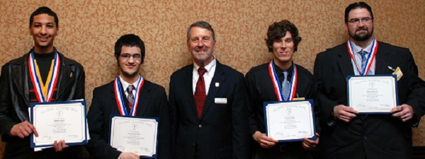 Imani Lemon, from left,  and Paul Borcherding represented the Iola Campus at the 2019 All-State Kansas Scholarship luncheon in Topeka. John Masterson, Allen's president, honored them along with Trenton Ming and  Shiloah Hutsen of the Burlingame Campus