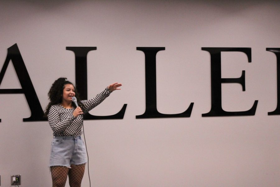 Art Club director Cristal Macias speaks at her very first Art Club meeting. Macias and sophomore Karen Perez hosted a 90's fashion show that consisted of student models and staff judges.