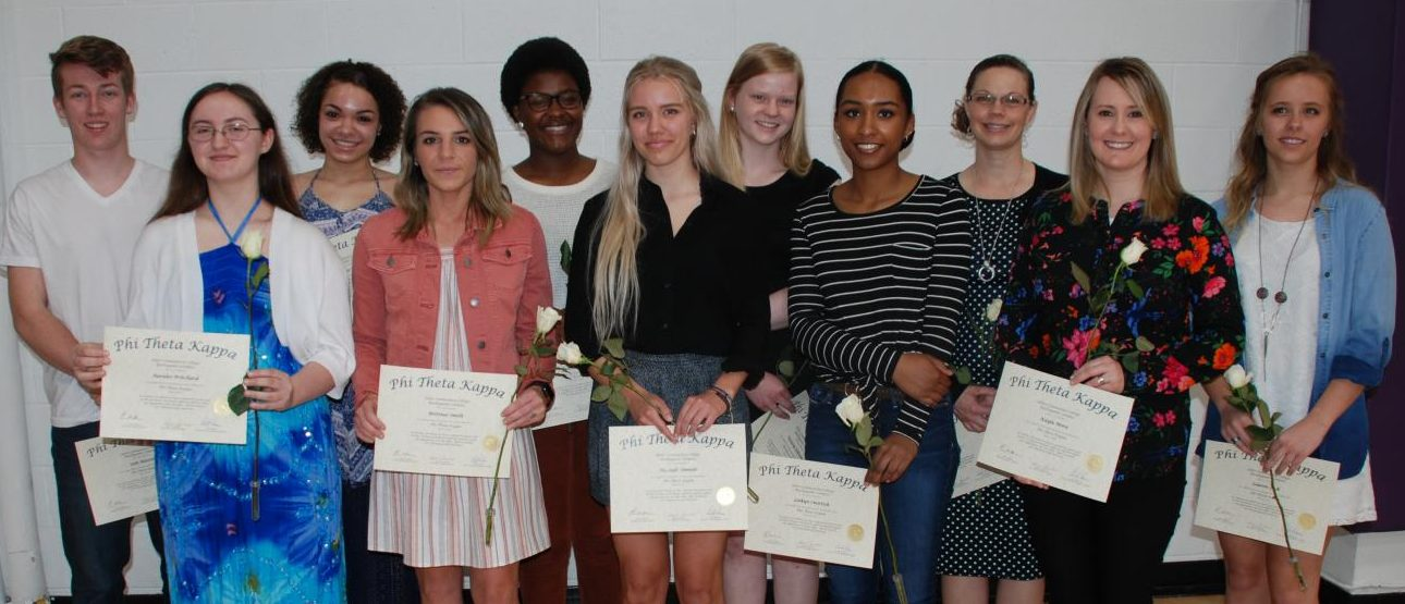 The Burlingame Campus of Allen Community College had its spring induction of Phi Theta Kappa members on April 7. Pictured are, back row from left, Seth Martin, Brittnee Bonner, Faith Ngibuini, Victoria Schwinn, Katie Oehrig and Lauren Falk; front from left, Auralee Pritchard, Brittnee Smith, Hannah Simnitt, Laikyn Smittick and Kayla Mora. The Burlingame chapter of the honor society is led by instructors Sharon Lawless, Doug Joseph and Erin O'Keefe.