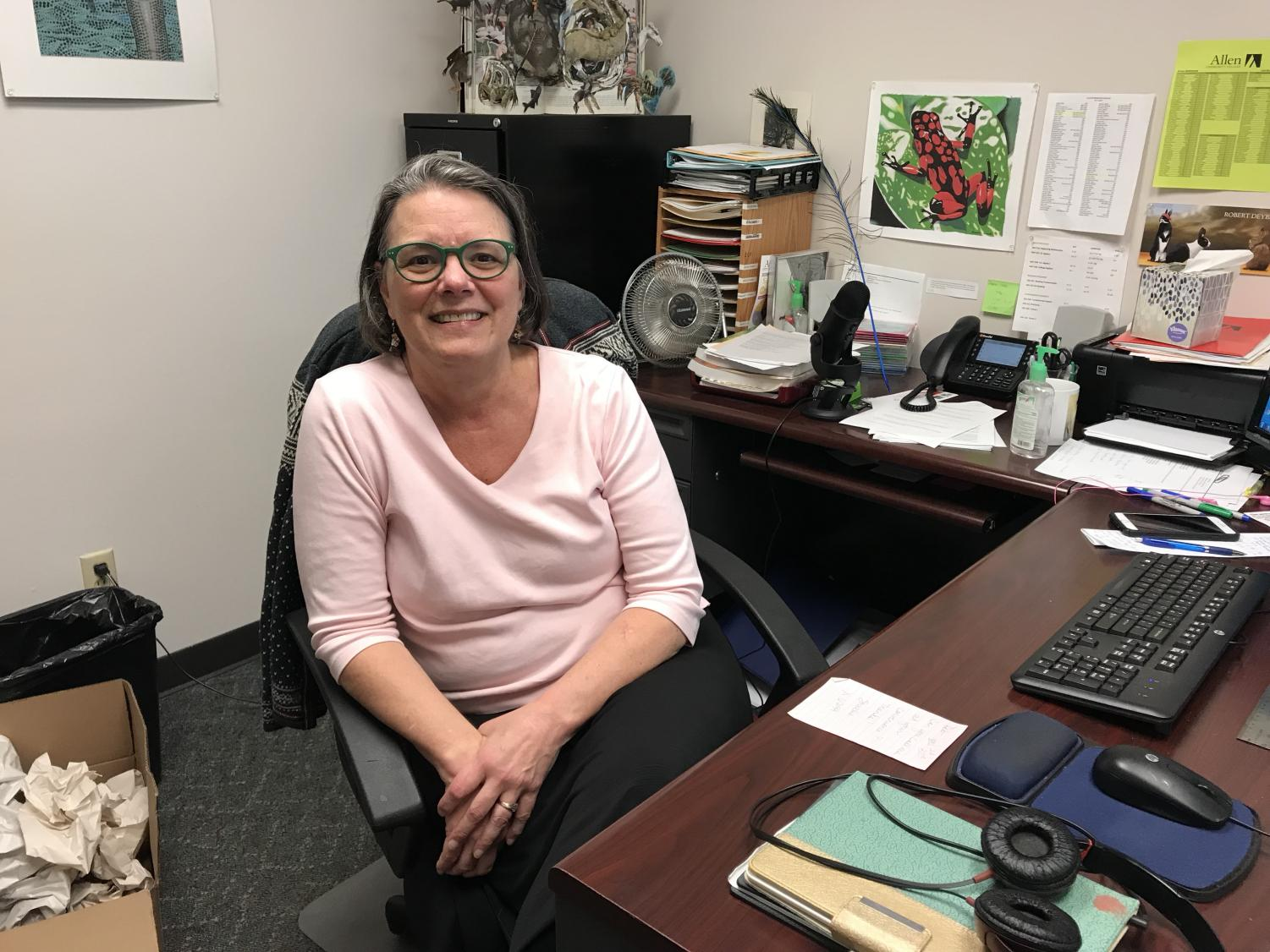 Deb Erikson, who is completing her last year of teaching at Allen, manages her online biology courses.