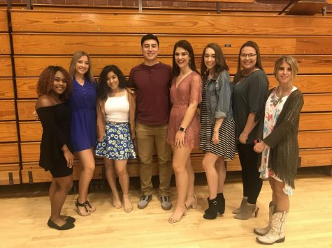 Cheerleaders and Allen Firestarters Daryona Chambers, Emma Weseloh, Aldina Rigini, Mikey Bruner, Samantha Nickel, Kyleene Bridges, Taylor Stout, and Chaney Jo Besack attended the Endowment Luncheon in the fall of 2018.