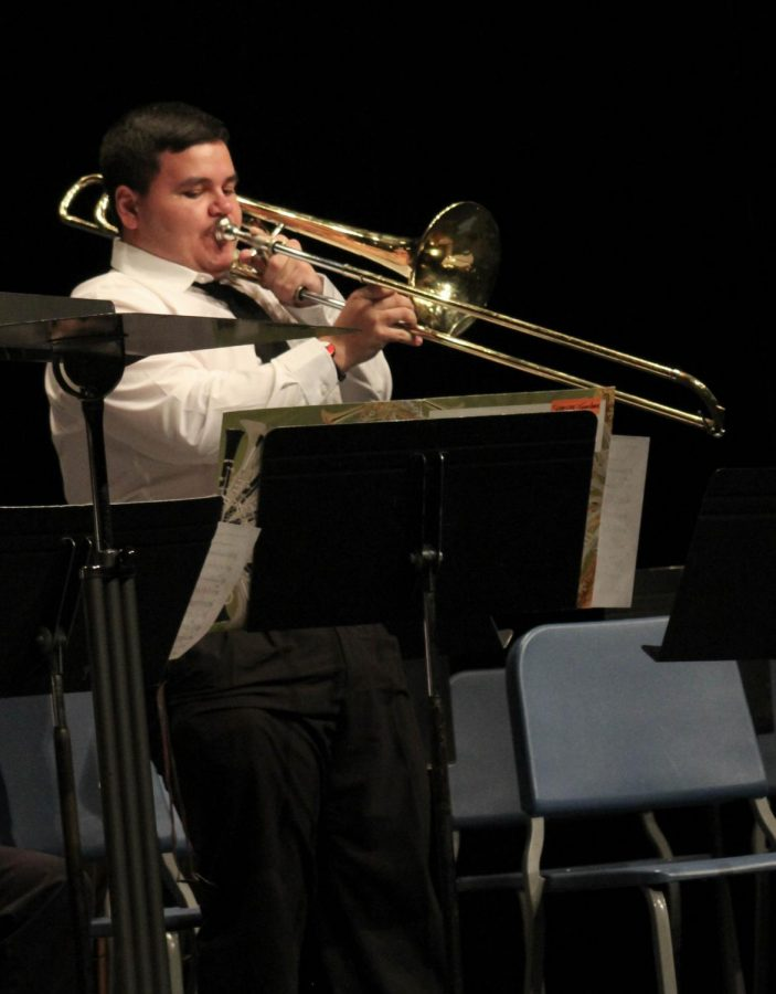 Iola High School Student Spencer Ames was featured during Allen's Jazz Band performance.