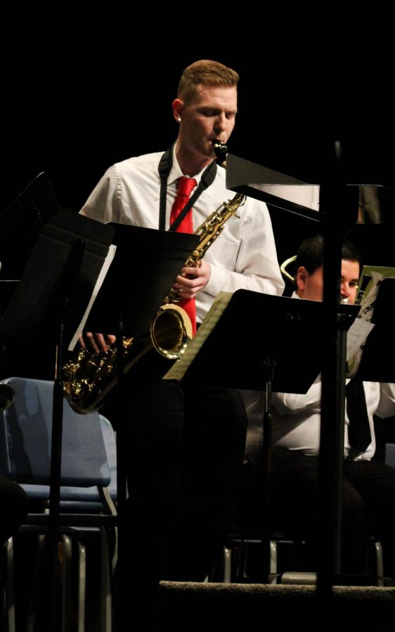 Virgil Wright played several solos on the tenor saxophone during the concert.