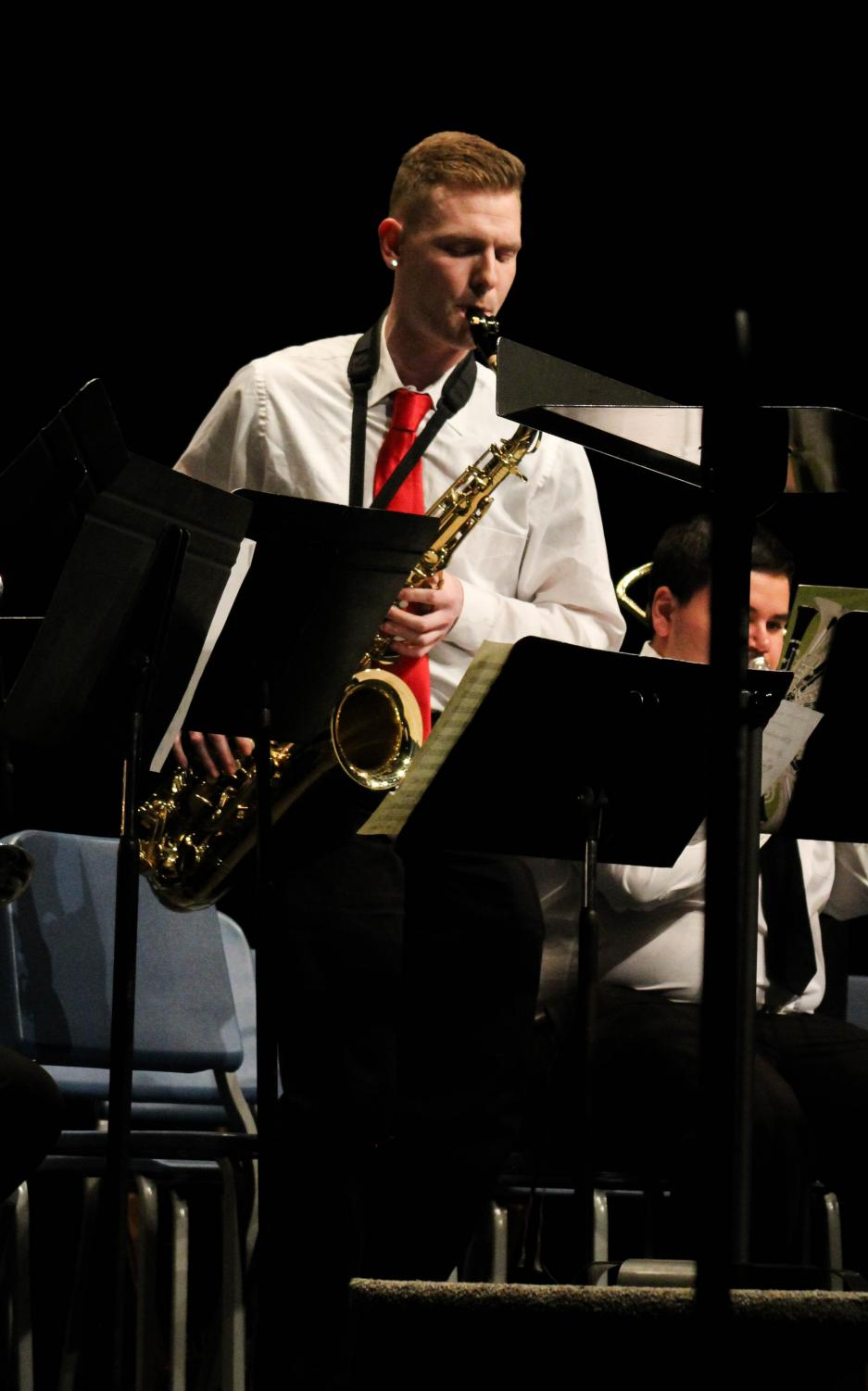Virgil+Wright+played+several+solos+on+the+tenor+saxophone+during+the+concert.