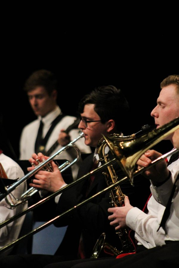 Ryan Moffet, of Yates Center, played the trumpet for the combined concert.