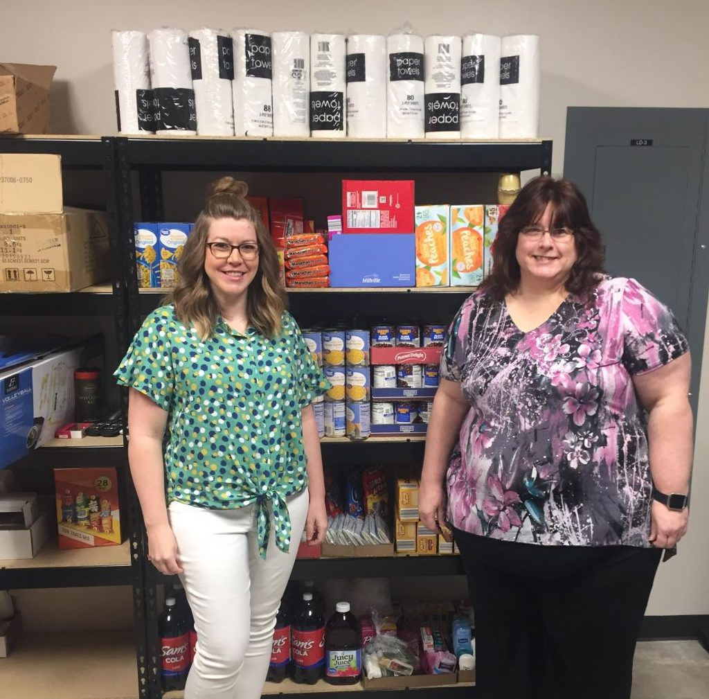 Chandi Leis, left, and Virginia Shafer have headed up efforts to establish the Allen Food Pantry, which provides food, beverages and other essentials for students.