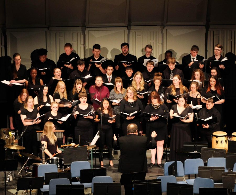 Alan Murray, of Neosho County Community College, directed the combined choir in their performance of