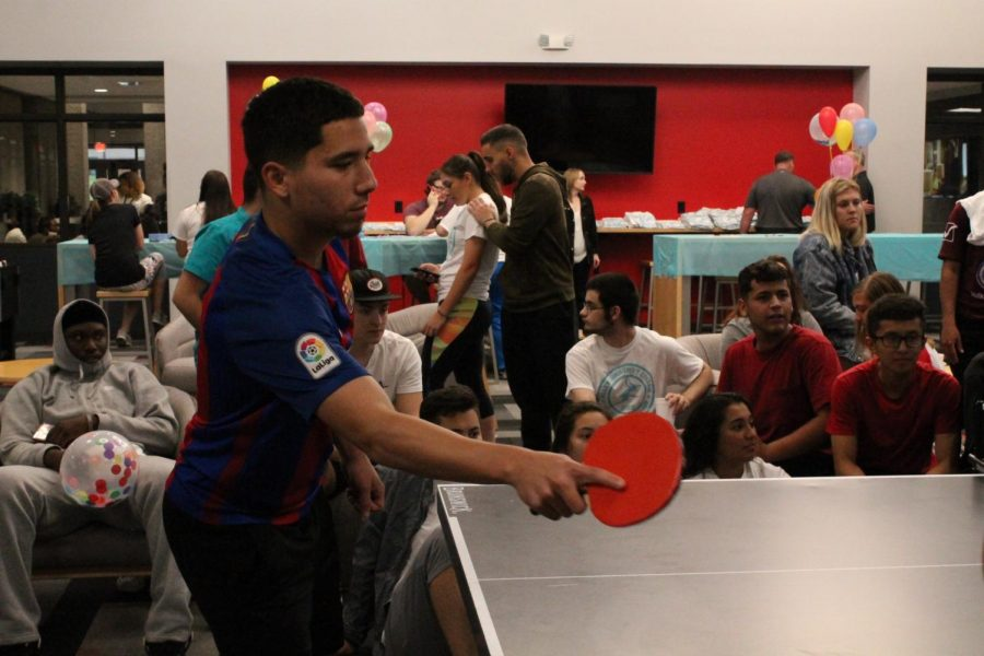 Austin Cuevas competed in the ping pong tournament at Sophomore Send-Off.