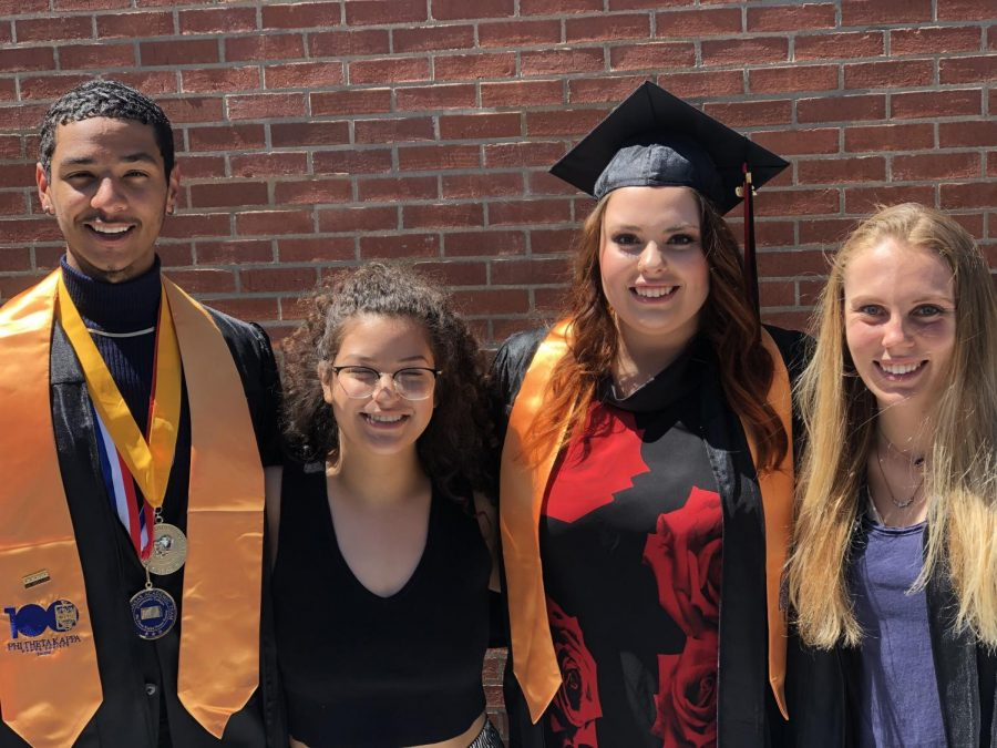 Imani Lemon, Cristal Macias, Lindsey Temaat, and Kussatz, who became best friends early in their freshman year, smile on their graduation day last weekend.