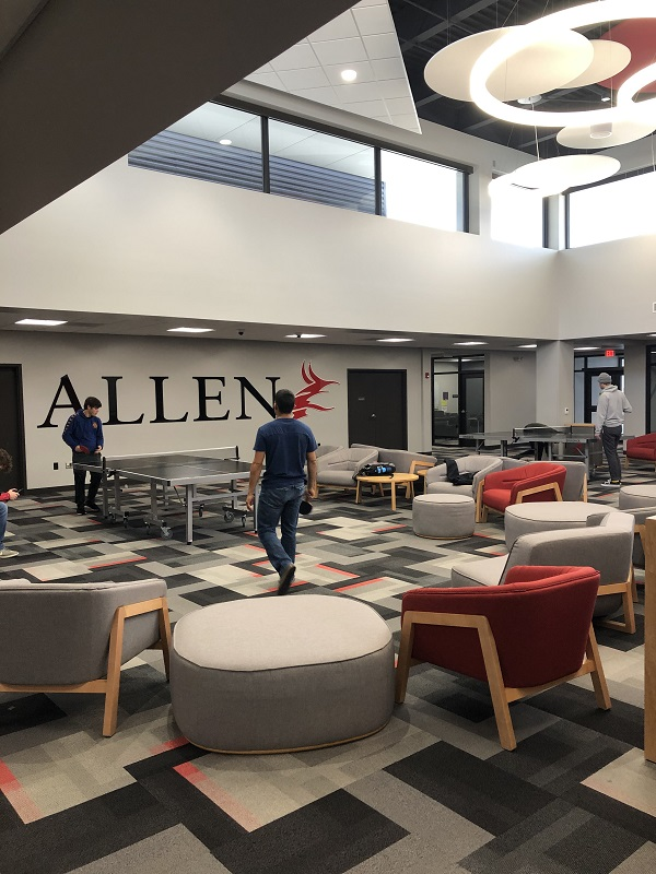 Allen students relax in between classes in the Student Center.