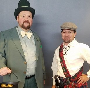 Allen instructors Erik Griffith, left, and Josh Boyd represent Ireland and Scotland, respectively, in their Halloween costumes.