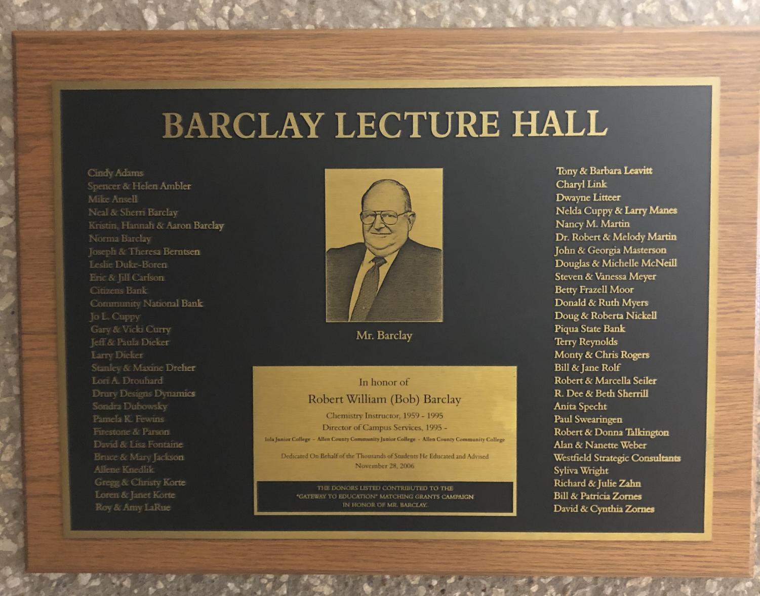 The Barclay Lecture Hall, named for longtime Allen chemistry instructor Bob Barclay, and Masterson Hall, below, named for President John Masterson, are two examples of college facilities named for people vital to the institution.