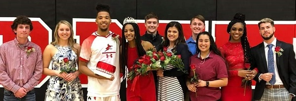 Allen Community College's 2020 Homecoming was Feb. 12, with queen and king being honored along with their court of nominees. Pictured from left are From left to right: Garrett Gantt, Amanda Wray, King Trez Hankins, Queen PJ Curry, Hunter Crane, Meg Kirk, Austin Hendrix, Gabby Guzman, Brittney Eskridge  and Diego Feitosa.