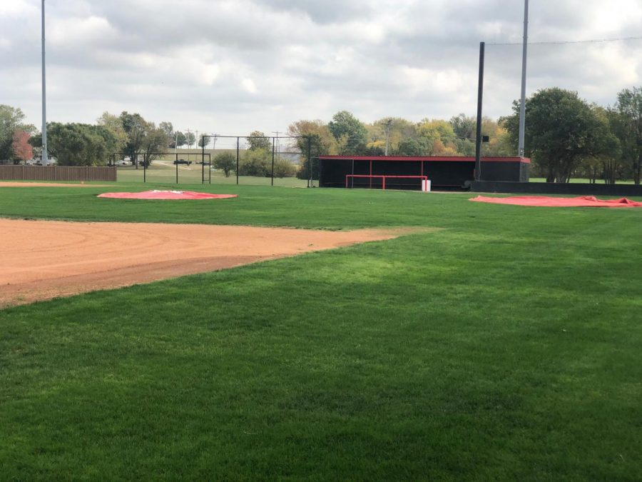 The ACC baseball field sits empty as players are unable to return to practice as normal due to a surge in COVID cases that led to the entire team being quarantined.